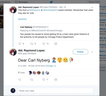 ald Raymond Lopez 15th ward reaction to Nyberg